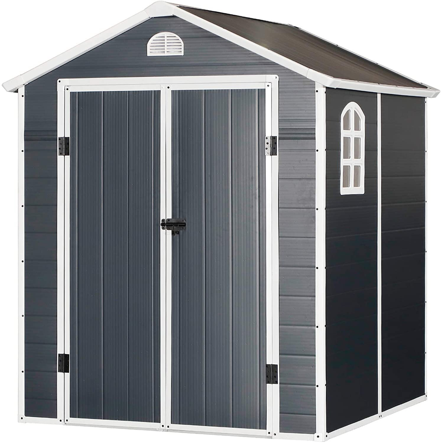 Outsunny 226x190cm Garden Shed Outdoor Storage 2 Doors Latch Air Vent Window Grey Mh Star