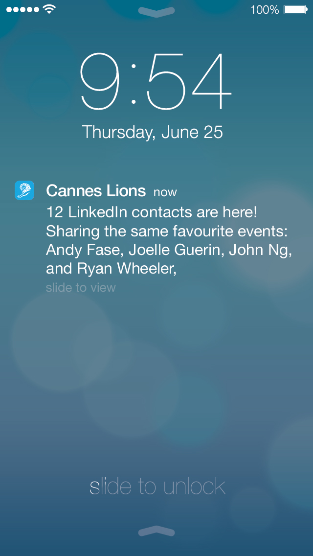 Cannes Lions event app notification