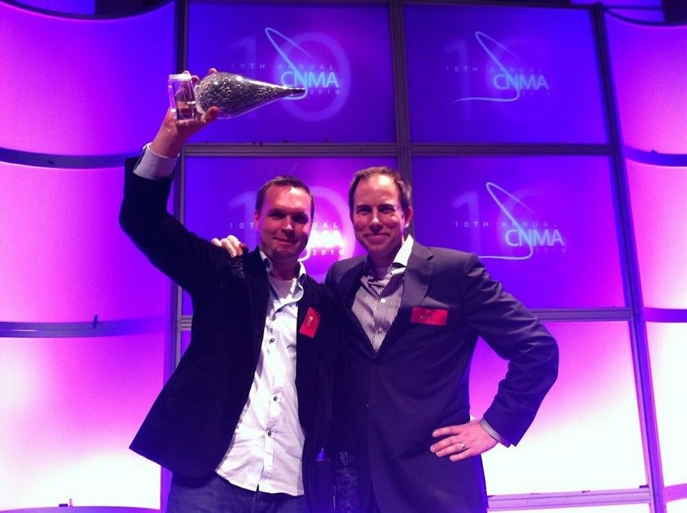 Eventbase co-founders, Jeff Sinclair and Ben West take home the Canadian New Media Award for Best Mobile App for the Vancouver 2010 Winter Olympics Games app.