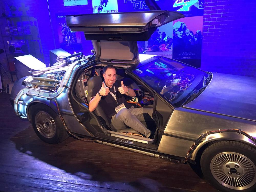 West enjoys a ride in the Ready Player One car at SXSW 2018.