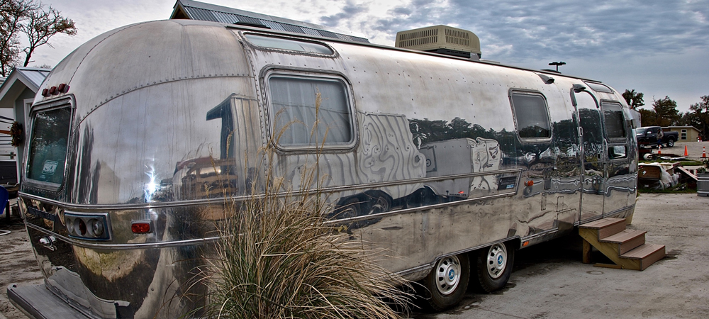 """Shasta"" the vintage Airstream trailer has AC, a shower, and a fully-equipped kitchenette."