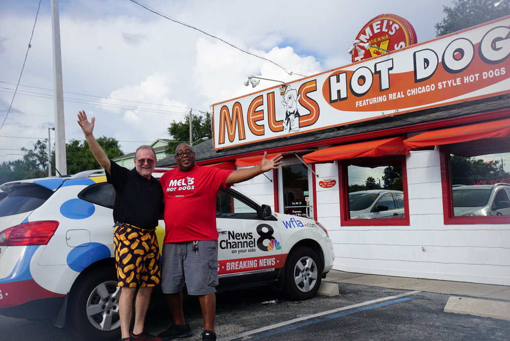 WFLA News Channel 8's Anthony Allred stopped by on National Hot Dog Day to chat with the Top Dog! To watch the segment, visit https://www.wfla.com/news/around-town/mel-s-hot-dogs-celebrates-45-years-of-being-in-business-on-national-hot-dog-day/1308905782 -