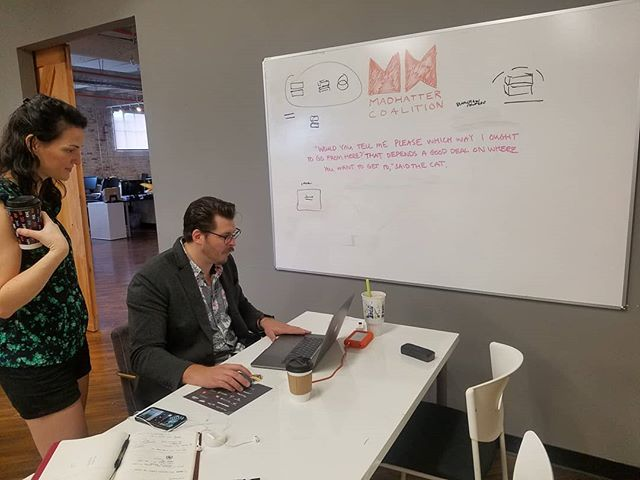 Tyler Gillespie of #madhattercoalition is helping to create the logos for all 10 of the companies competing this afternoon and they are truly #badass  #startherenow #startups #design #womenentrepreneurs #opportunity