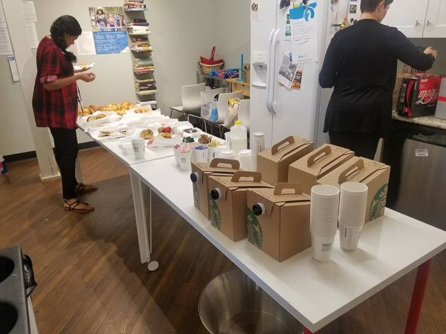We have coffee and pastries! Time to fuel for the final morning of prep before this afternoon's finale!  #startherenow #startups #opportunity #design #womenentrepreneurs #fuel #brainfood #breakfast