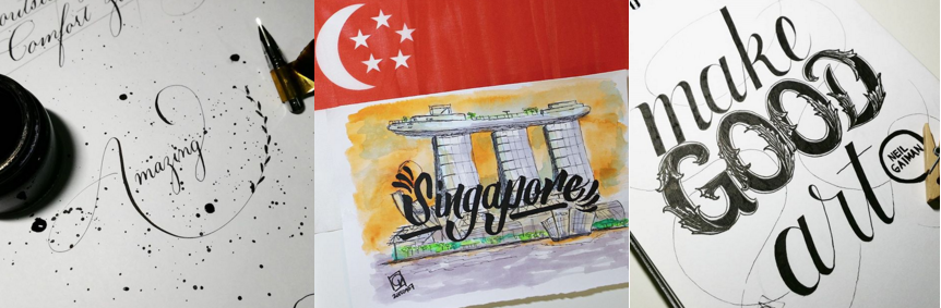 "From left to right: calligraphy of ""Amazing,"" watercolor art of Marina Bay Sands with ""Singapore"" brush lettering, type lettering of Neil Gaiman's quote ""Make Good Art"""