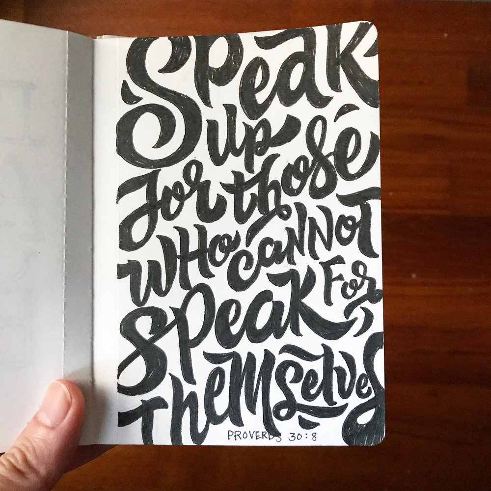 Lettering on notebook