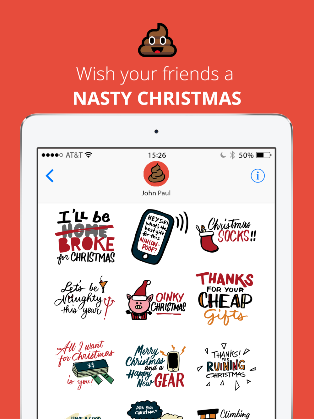 Nasty Christmas iOS Stickers