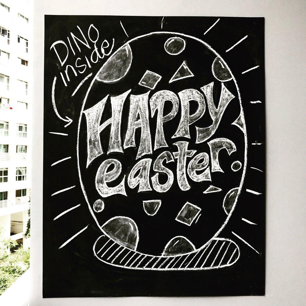 Happy Easter chalk lettering