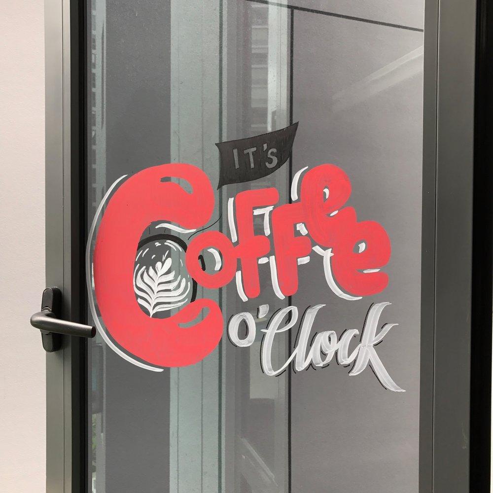 Coffee o Clock window mural