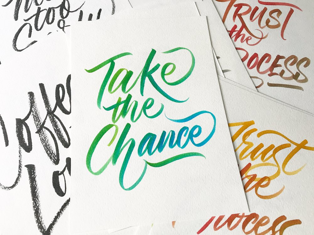 Inspirational cards in brush calligraphy