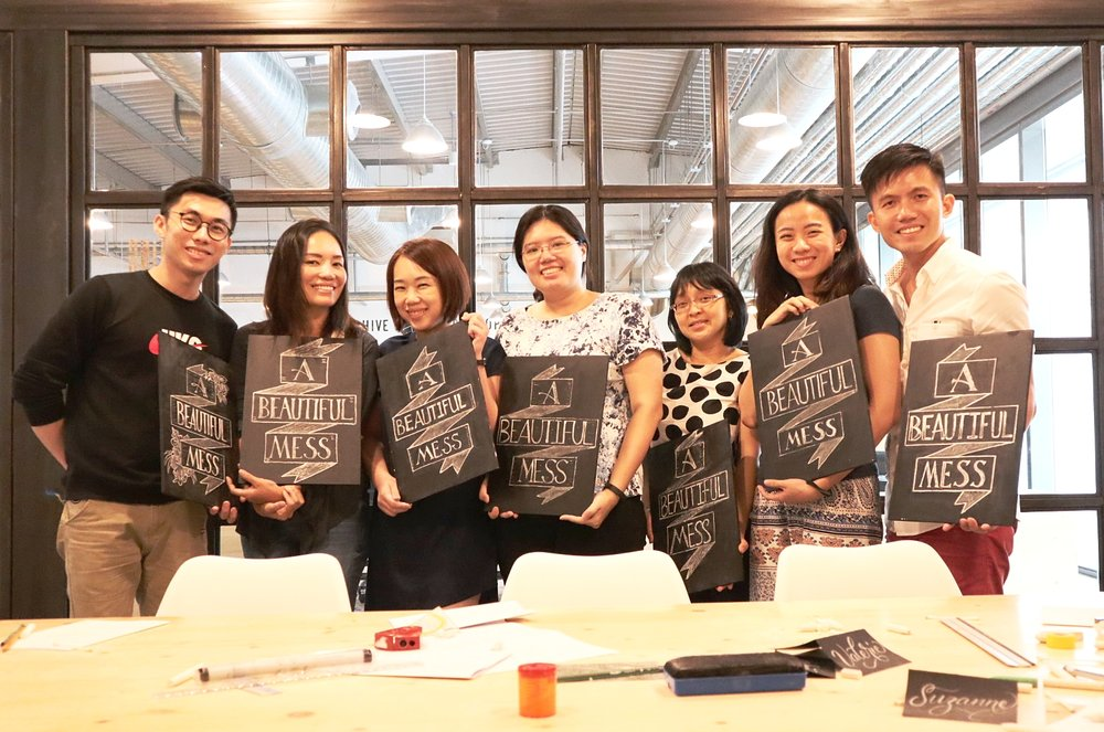 July 14, 2018 - Introduction to Chalk Lettering Workshop at The Hive Lavender