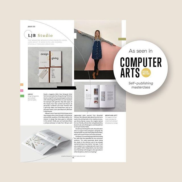 """I don't think I could've asked for a better review... 🙌🏻🙌🏻🙌🏻 ⠀ ⠀ ⭐️ As seen in this months @computerartsmag (Jan 2019) ⭐️ ⠀ ⠀ """"Could a magazine (other than Computer Arts) feel more desirable than Design Giving? Perfectly bound, using recycled papers… Boast's love of special print techniques and a clean design ethos comes through in the physical and aesthetic qualities… and her interest in design that does good is reflected in the content.""""⠀ ⠀ I had the pleasure of speaking to Garrick Webster of @computerartsmag about my experience in self-publishing @designgiving magazine, my approach with putting it together, printing methods, what I had to put into it in terms of time skills and money, and ultimately what I got out of the whole experience. ⠀ ⠀ If you're thinking of self-publishing yourself, you'll find great advice from the amazing @bentallon @brand__nu @adrian.shaughnessy of @uniteditions @_face37 @rohandanieleason and @typotheque to name a few.⠀ ⠀ If anyone has any questions, or wants to know more, just drop me a message ☺️ Laura X ⠀ ⠀ #computerarts⠀ #reviews⠀ #magazinereviews⠀ #designmagazine ⠀ #designinspiration⠀ #designmatters⠀ #magazinecover⠀ #selfpublishing⠀ #howtodesign⠀ #howtoselfpublish⠀ #printing⠀ #bookprint⠀ #bookdesign⠀ #designgivingmagazine⠀⠀⠀⠀ #designgiving⠀⠀⠀⠀ #supportindependents⠀⠀⠀⠀ #supportindependentbusiness⠀⠀⠀⠀ #ecofriendlyprinting⠀ #ecofriendly⠀⠀⠀⠀ #ecoluxe ⠀⠀⠀⠀⠀⠀⠀ #founders ⠀⠀⠀⠀ #socialchangemakers ⠀⠀⠀⠀⠀ #printdesign ⠀⠀ #welovemagazines⠀⠀⠀ #paperlove⠀⠀⠀⠀ #paperlover ⠀⠀⠀⠀ #designbooks⠀ #graphicdesign⠀ #magazinedesign⠀ #layoutdesign"""
