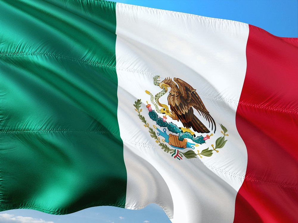 Mexico's flag features prickly pear cactus and oak and laurel trees. -