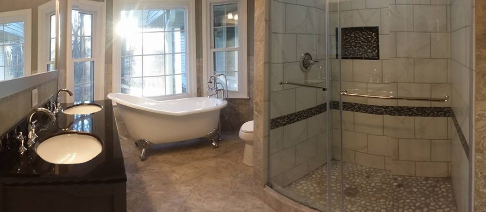 Complete Remodel - New tile, vanity, and fixtures.