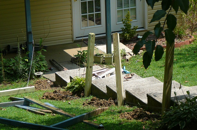 Handrail installation (setting the posts)