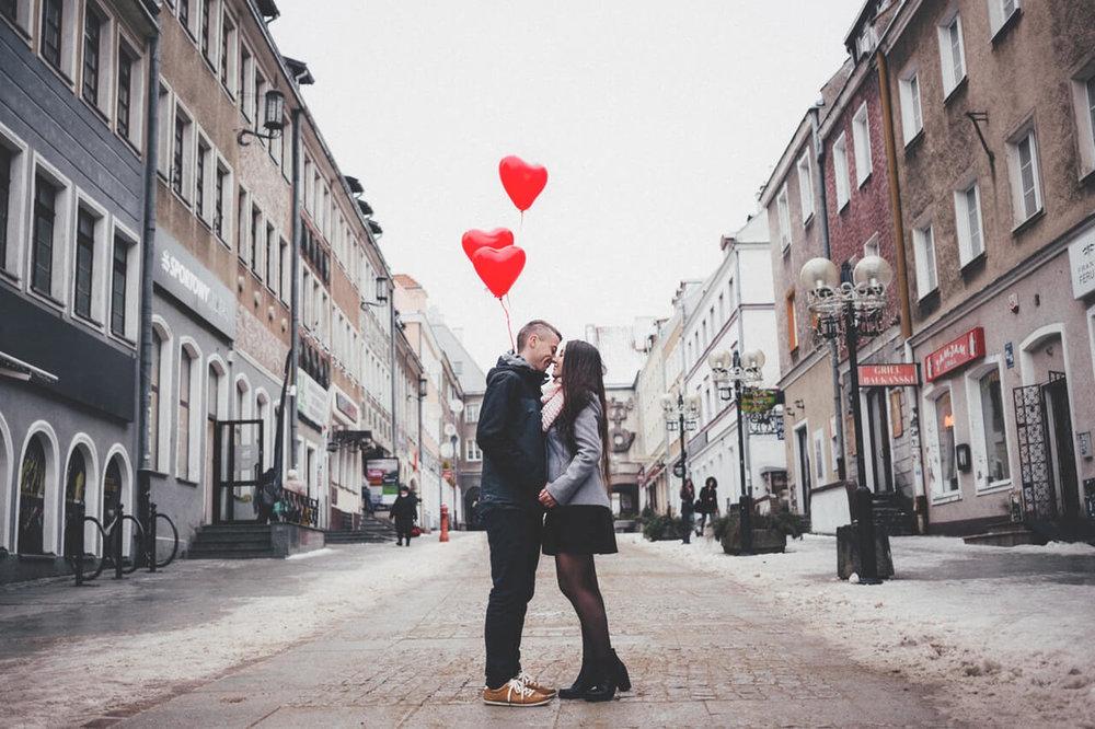 Man and woman kissing
