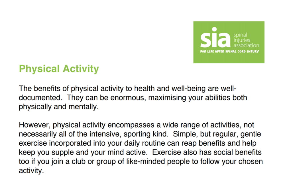 Spinal Injuries Association - Physical Activity Fact Sheet