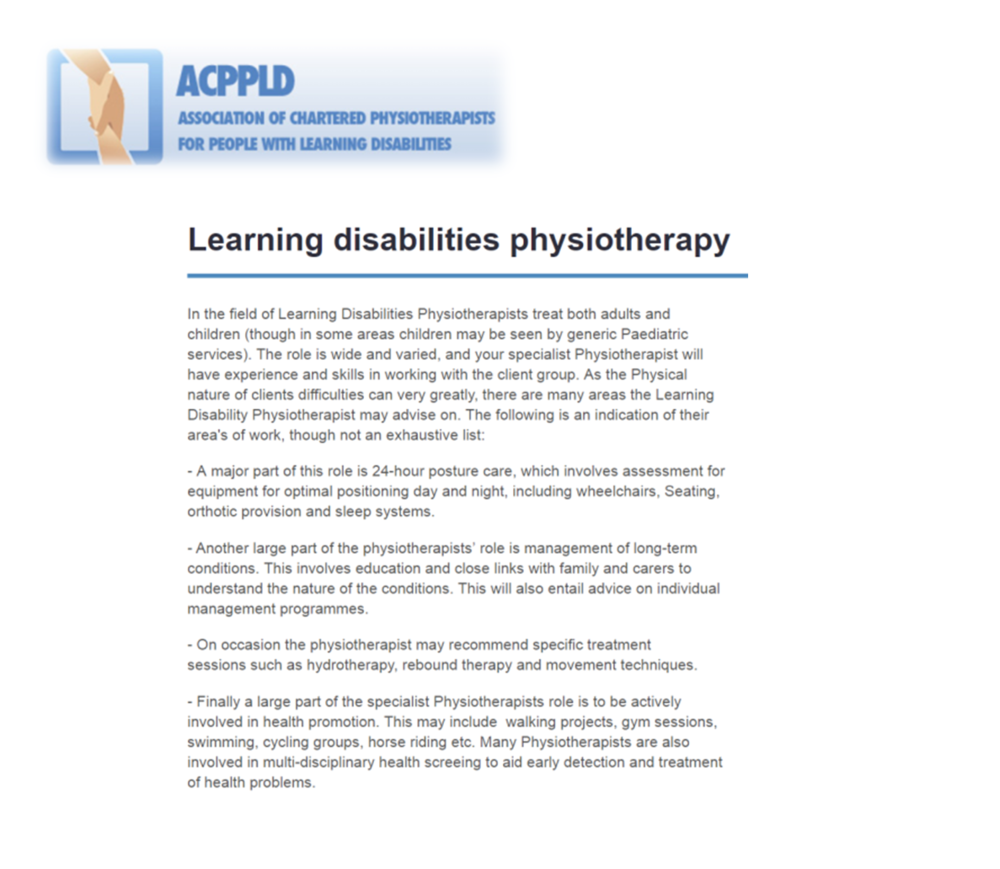 Association of Chartered Physiotherapists for People with Learning Disabilities - Learning Disabilities Physiotherapy