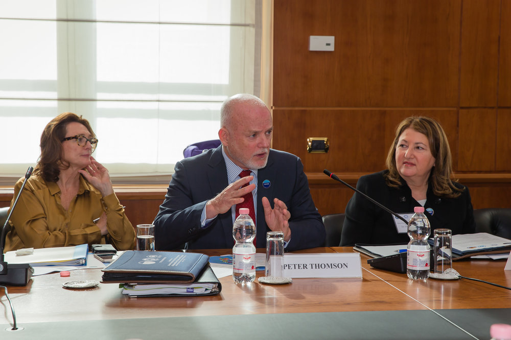 From left:  Mrs. Marijcke Thomson, PGA Ambassador Mr. Peter Thomson, Dr. Ellen Pikitch at the Rome conference, March 2016.  (OSA photo)