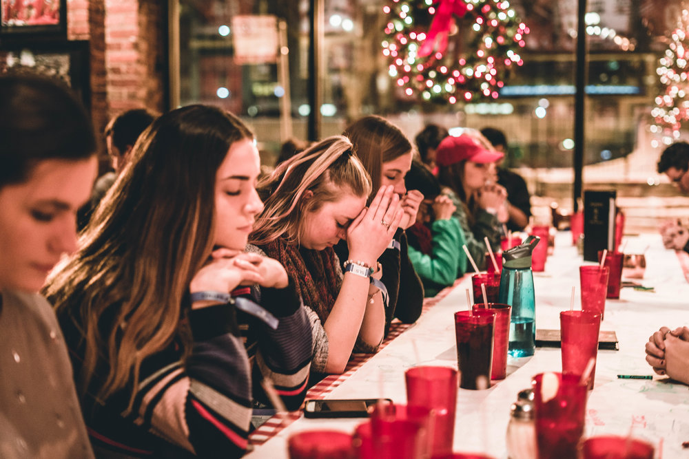 To see  40 something students all bow their head in prayer before our meal was just another way to see how the young church has a love for the lord.