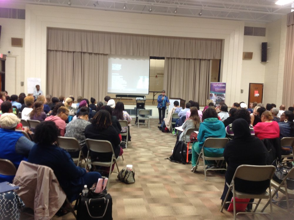 Pamela provides programming locally, nationally, and internationally, and is seen here training nurses in Prince George's County, Maryland.