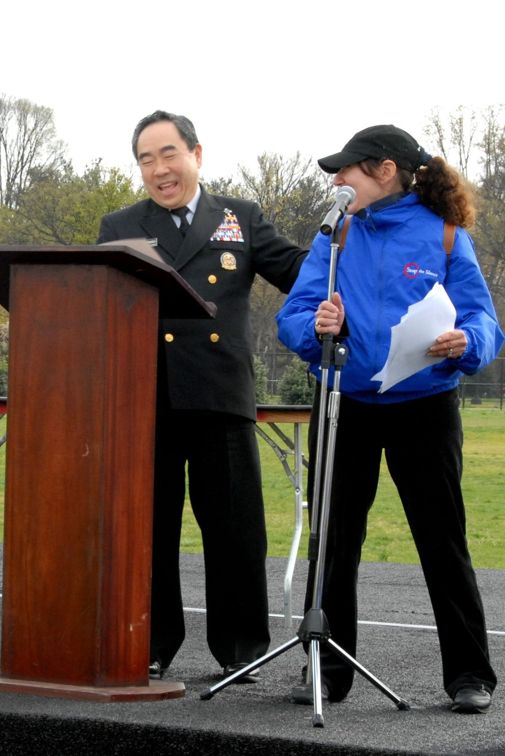 Surgeon General of the United States RADM Kenneth P. Morisugu and Pamela Pine during the 2007 Race to Stop the Silence. (The Race, designed and developed by Pamela, took place for 10 years in the heart of DC from 2004-2013). The Surgeon General's site and various media provided coverage of the event.
