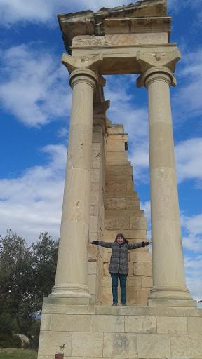 Pam holding up columns in Cyprus Jan. 2017.jpg