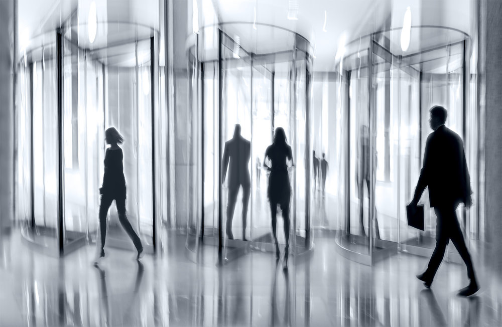revolving door glass office  in monochrome-1.jpg