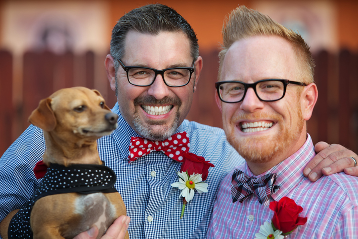 Practically Married : Same sex couple with dog