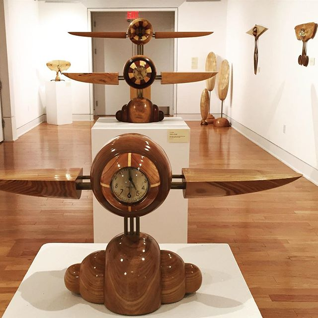 "The ""time flies"" series of clocks—Tempus Volate I and II and Flying Grandfather—at the #springfieldmuseumofart.  #woodturning #woodworking #woodworkforall #woodsculpture #woodart #clock #airplane #museum #artist #timeflies"