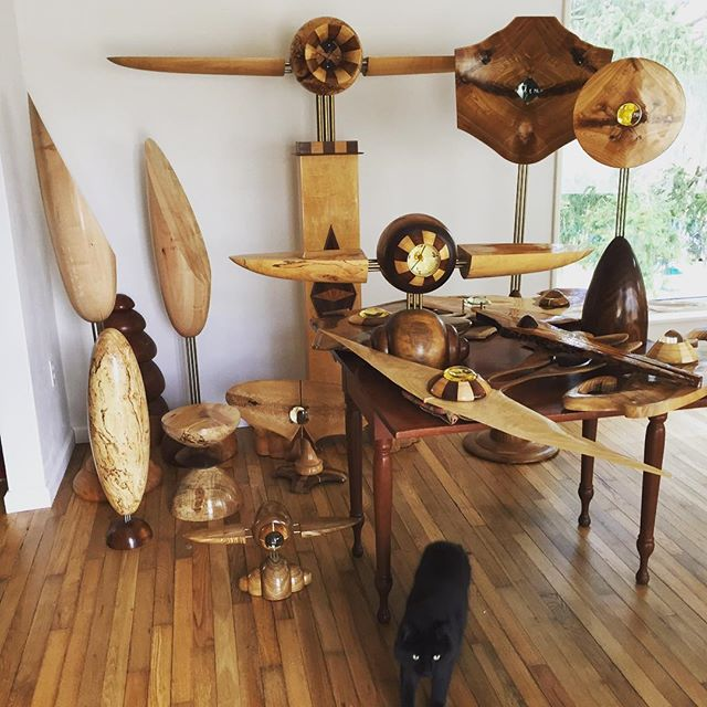 Homecoming for my work after a two-month show at the Springfield Museum of Art. Jinx the cat has inspected it all. Look for some of it to be on sale on my website soon. #woodworking #woodturning #woodart #woodsculpture #art #clock #sculpture