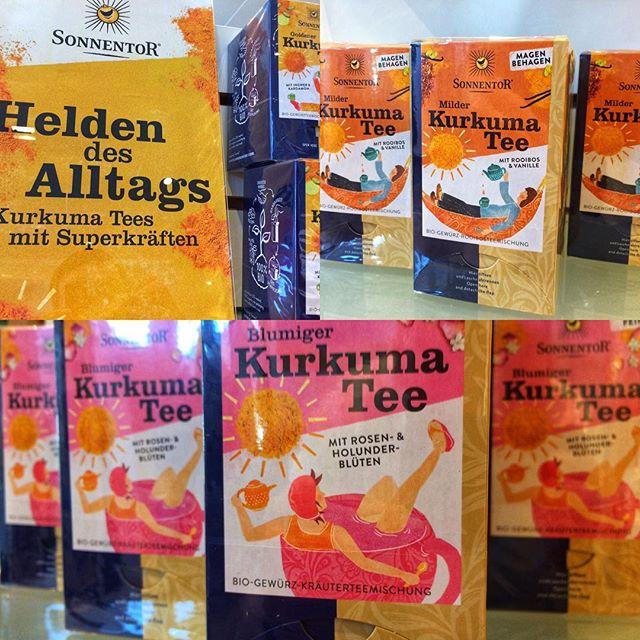 Die drei neuen #kurkuma Tees von #sonnentor. Für den idealen Start in den Tag. Wärmt nachhaltig von innen.  #albisdrogerielangnau #langnauamalbis #goldenemilch #goldenekurkuma #naturalhealing #phytotherapie #ayurveda