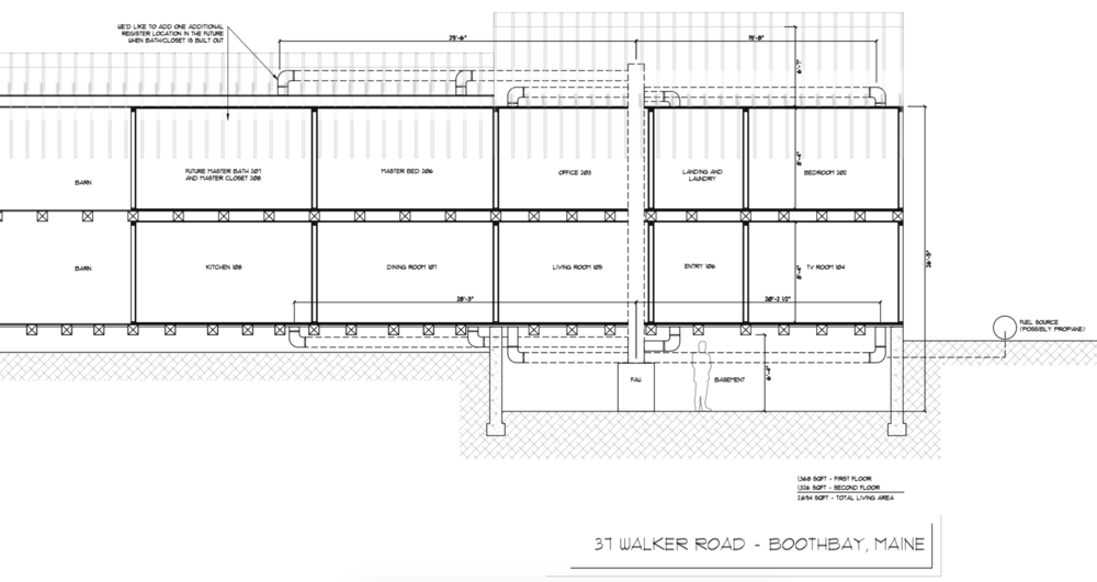 Since we are not local, nor have we closed escrow, nor have access to the house yet, Mike created duct-work renderings for the HVAC contractor so he could begin the bid and time estimates without necessarily having to see the property in person.