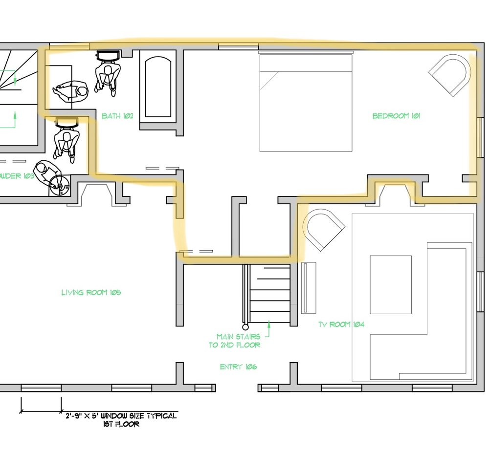 This highlighted area is the master GUESTroom and I wish you could see inside my head with all that I have planned! It's a beautiful, large suite with its own bathroom and it will have a sitting area by the east facing window for warm morning light. Just outside the window is a large,  old lilac bush and I cannot wait for the months when the coastal breezes will billow into the room!