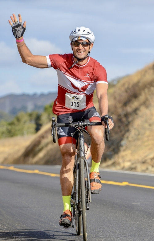 Dr. A completing the 100 mile Canary Challenge 2018. The Canary Foundation supports early cancer detection.