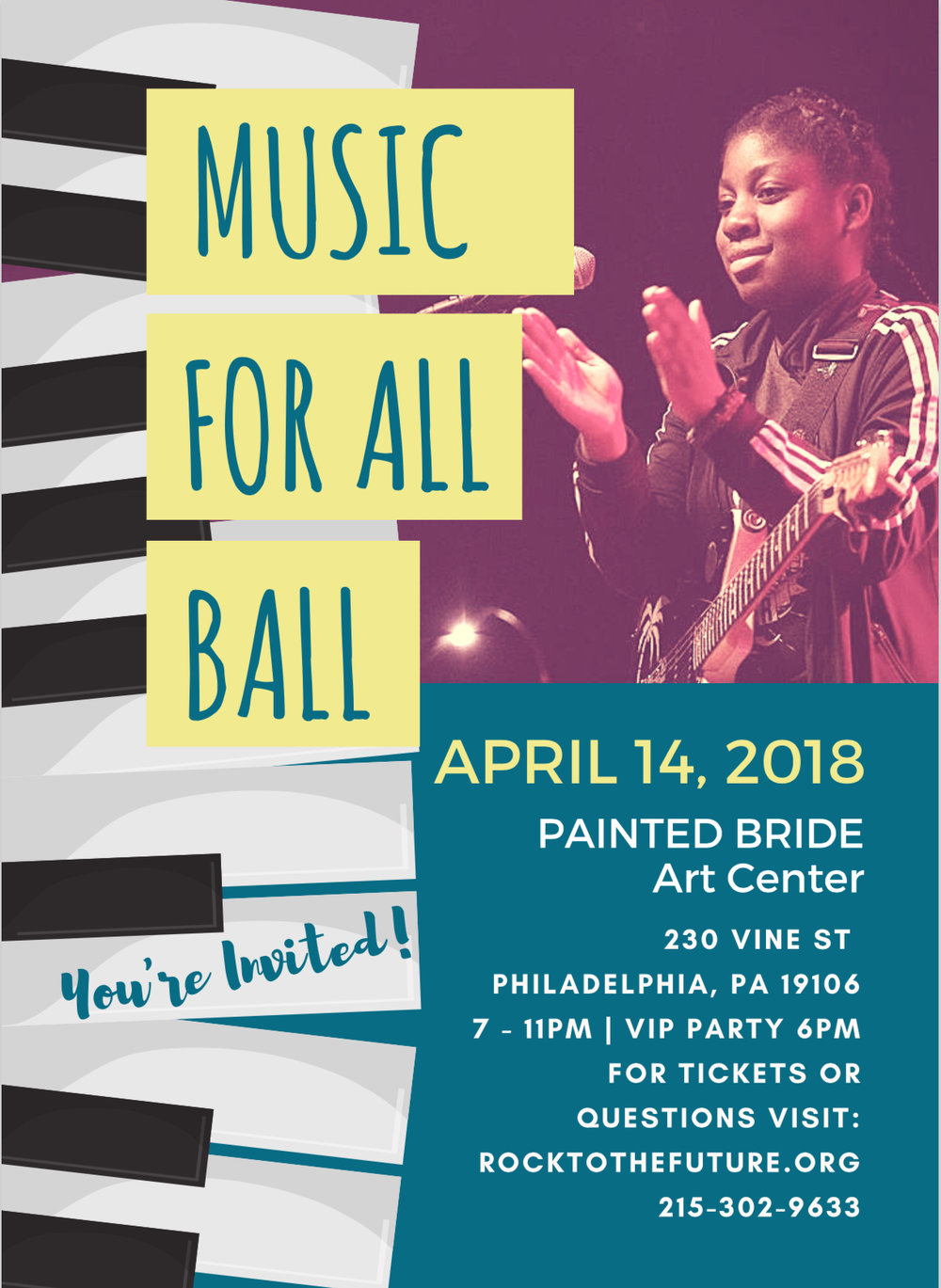 April 14th, 2018 - Music For All Ball Painted Bride Art Center230 Vine St Philly7-11pm | VIP Party 6pm   -