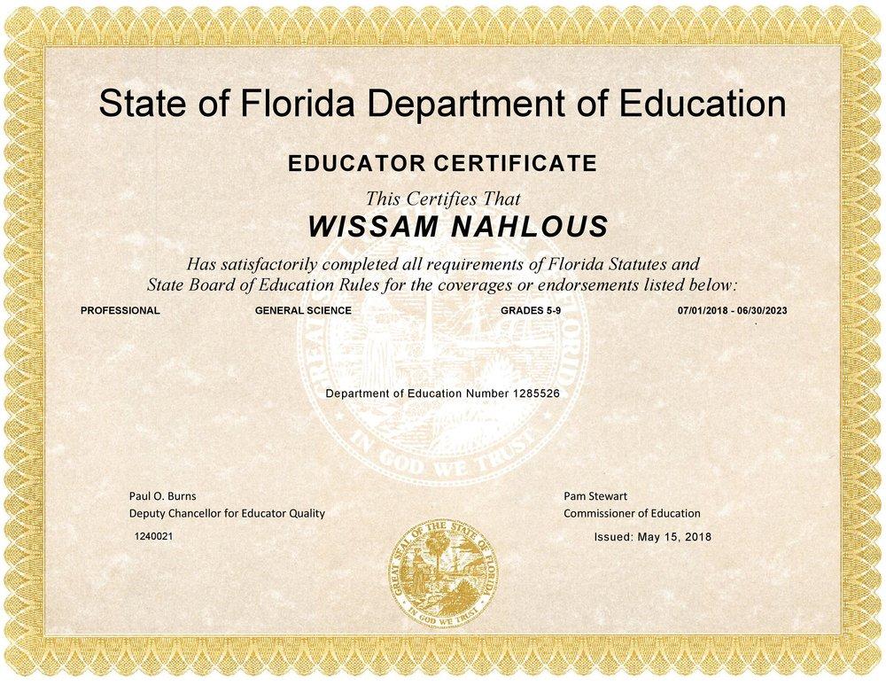 Certificate Wissam Nahlous