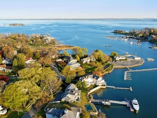 Aerial view of Shore Acres peninsula
