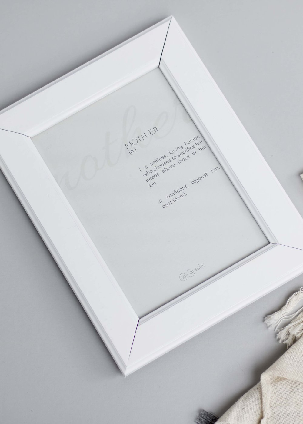 give your mom a daily reminder of what she means to you with our CoCapsules mother print displayed in a restored frame, available in our  sweet sentiments gift capsule .