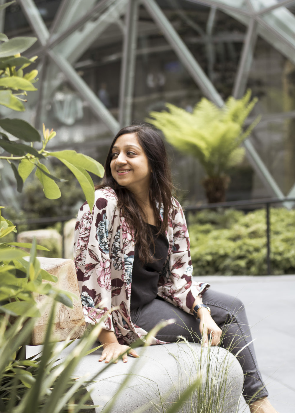 Pictured here is Abha Agrawal, founder of DesiHangover, styled in our  Floral Kimono  at the Amazon Spheres. She moved to Seattle with her husband who works at Amazon.