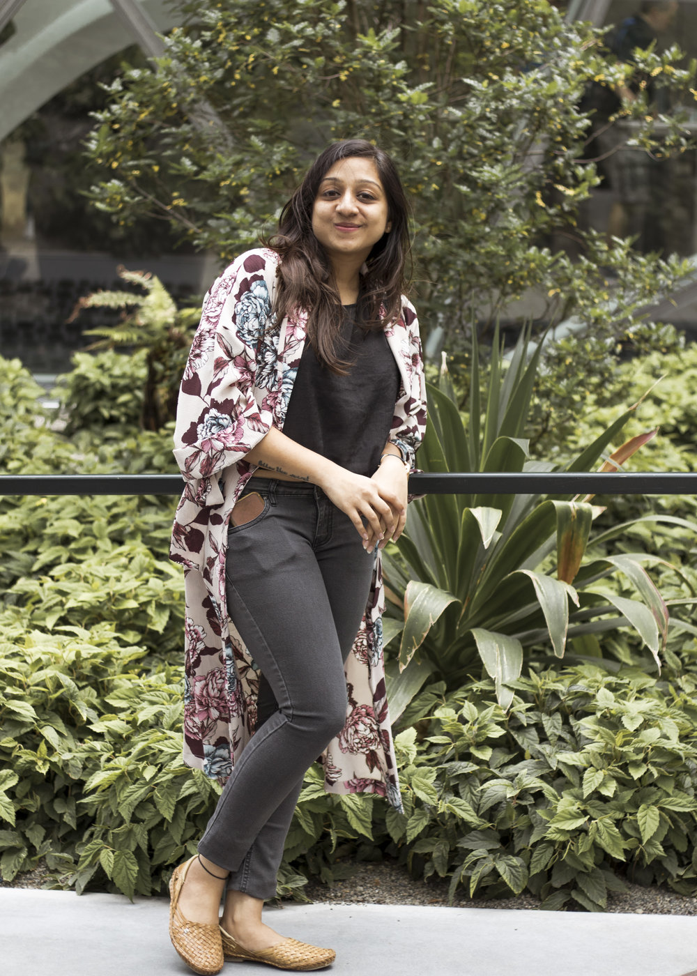 Pictured here is Abha Agrawal, founder of DesiHangover, styled in our  Floral Kimono  at the Amazon Spheres in downtown Seattle.