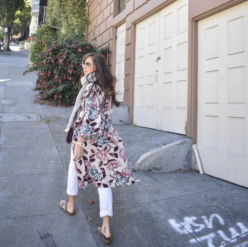 wearing: the  suna throw  as a scarf and the  floral kimono