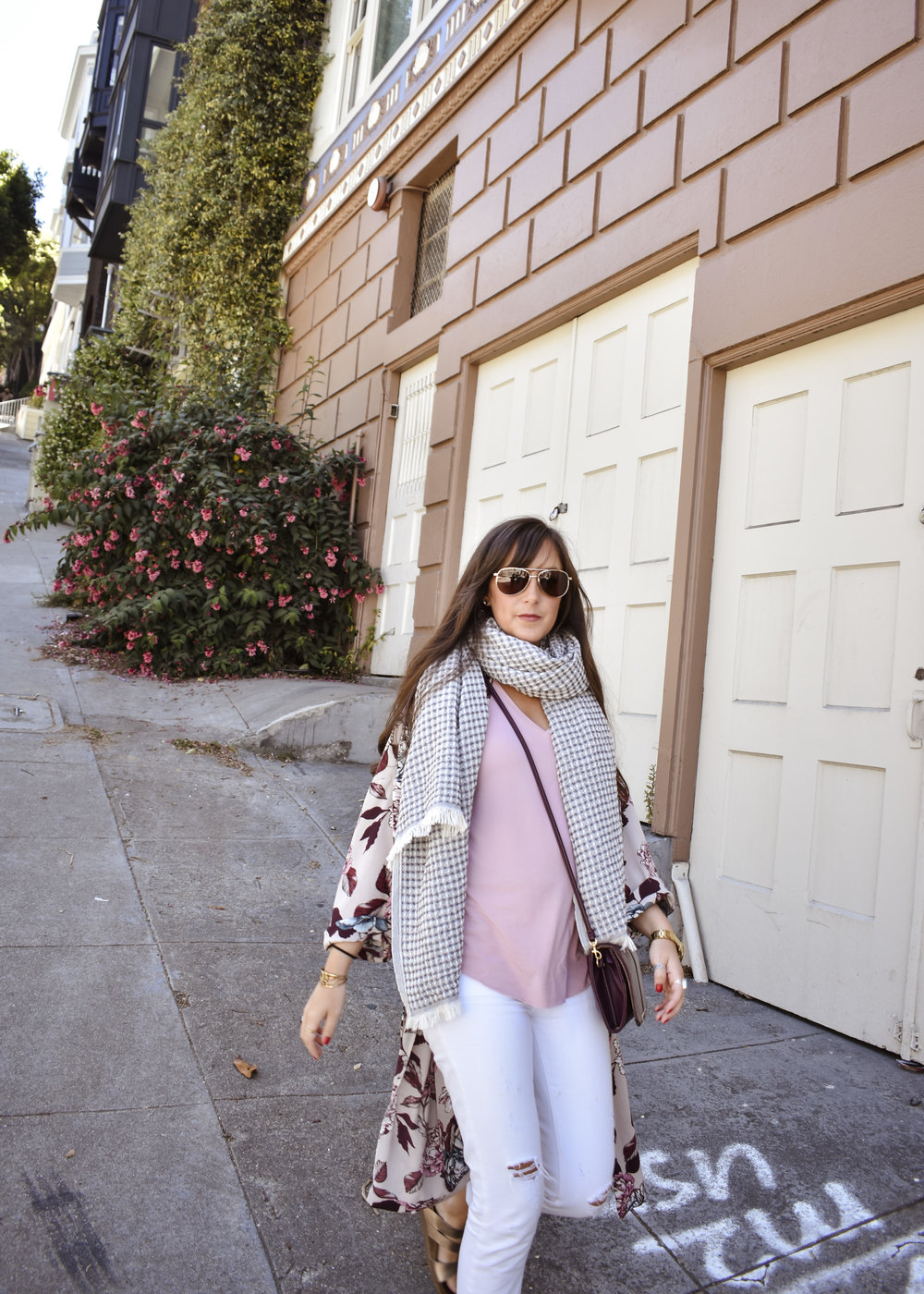 jenn took her style staples on a trip to san francisco and fit right in with the gorgeous architecture and greenery. shop her favorites;the  FLORAL KIMONO ,  FAVORITE TANK , and  SUNA THROW .