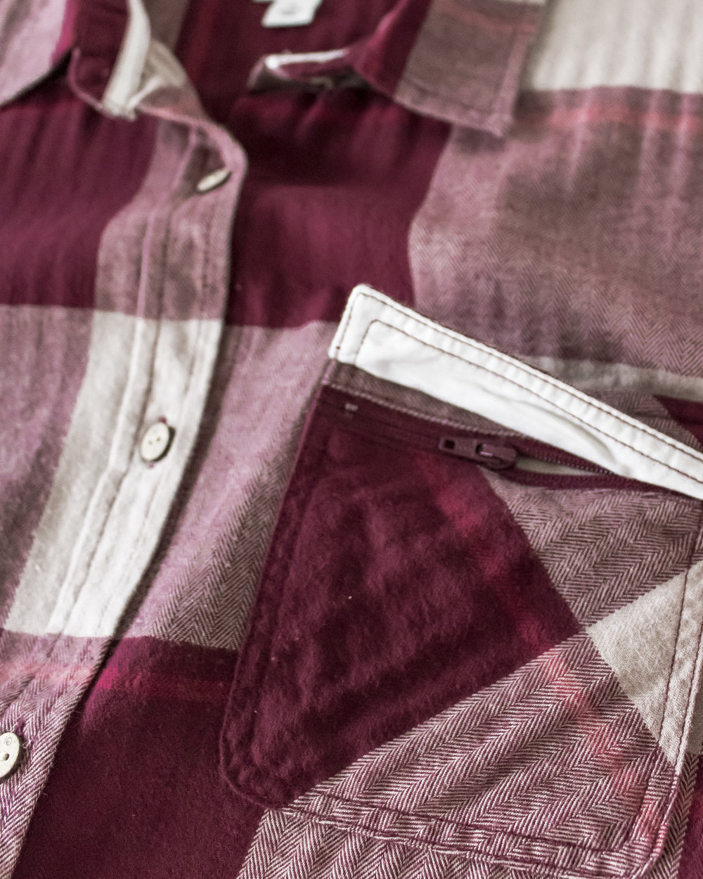 the chest pocket features a hidden zip closure beneath the flap.