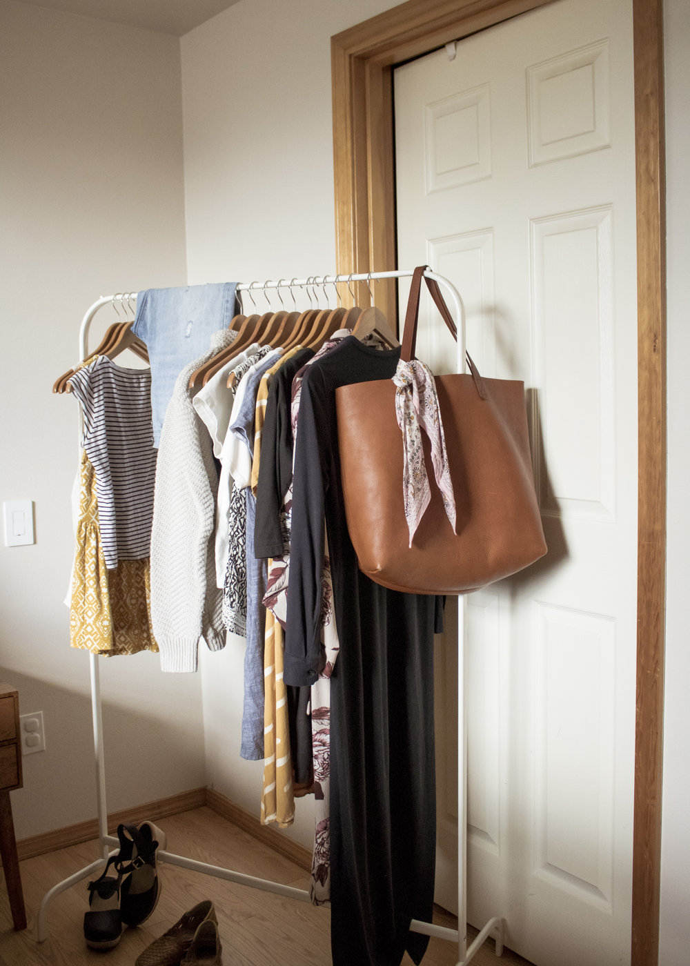 time to organize what's left in your closet. with this method, it's recommended you store as many pieces of clothing as possible on hangers so you can visually see your collection all together and easily build outfits.