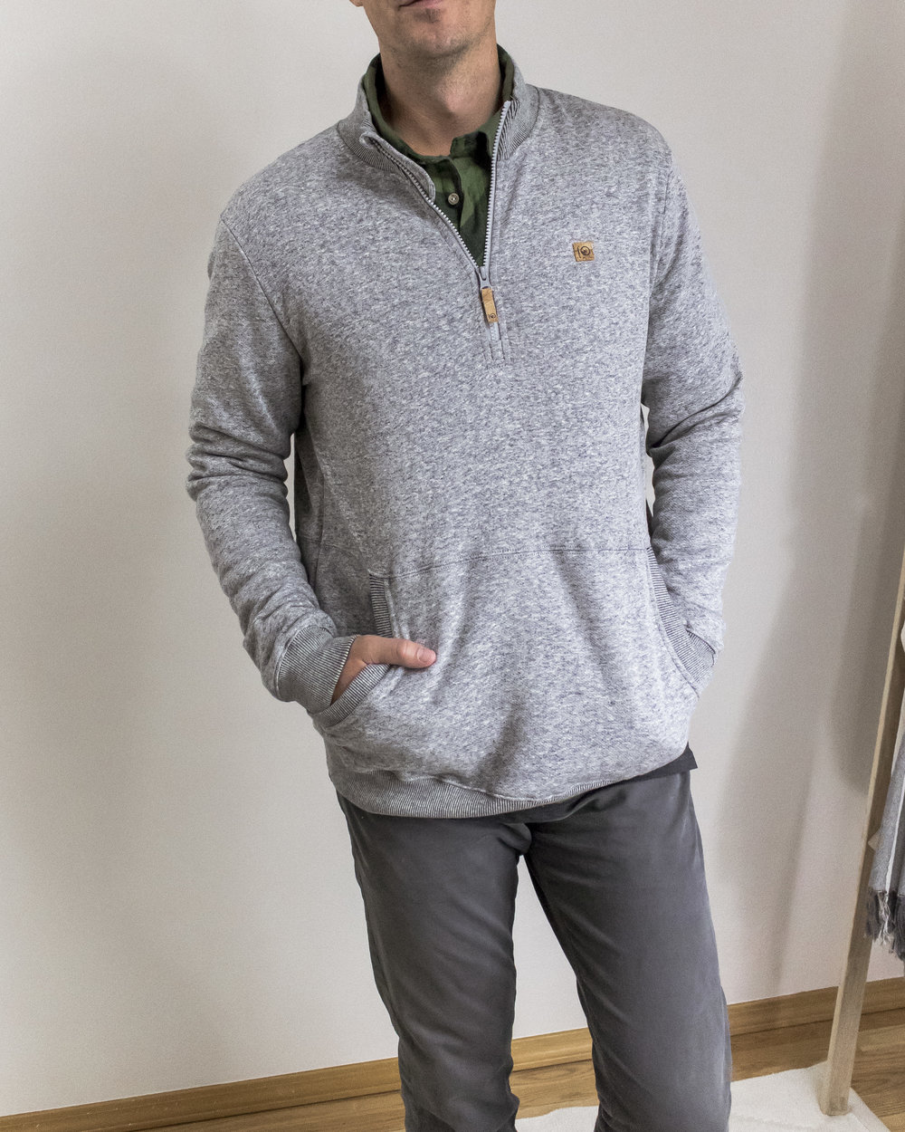 you'll always be prepared for spontaneous adventures with the HALF ZIP SWEATER. this cotton and hemp blend sweatshirt is heavyweight but breathable, plus uv resistant! -