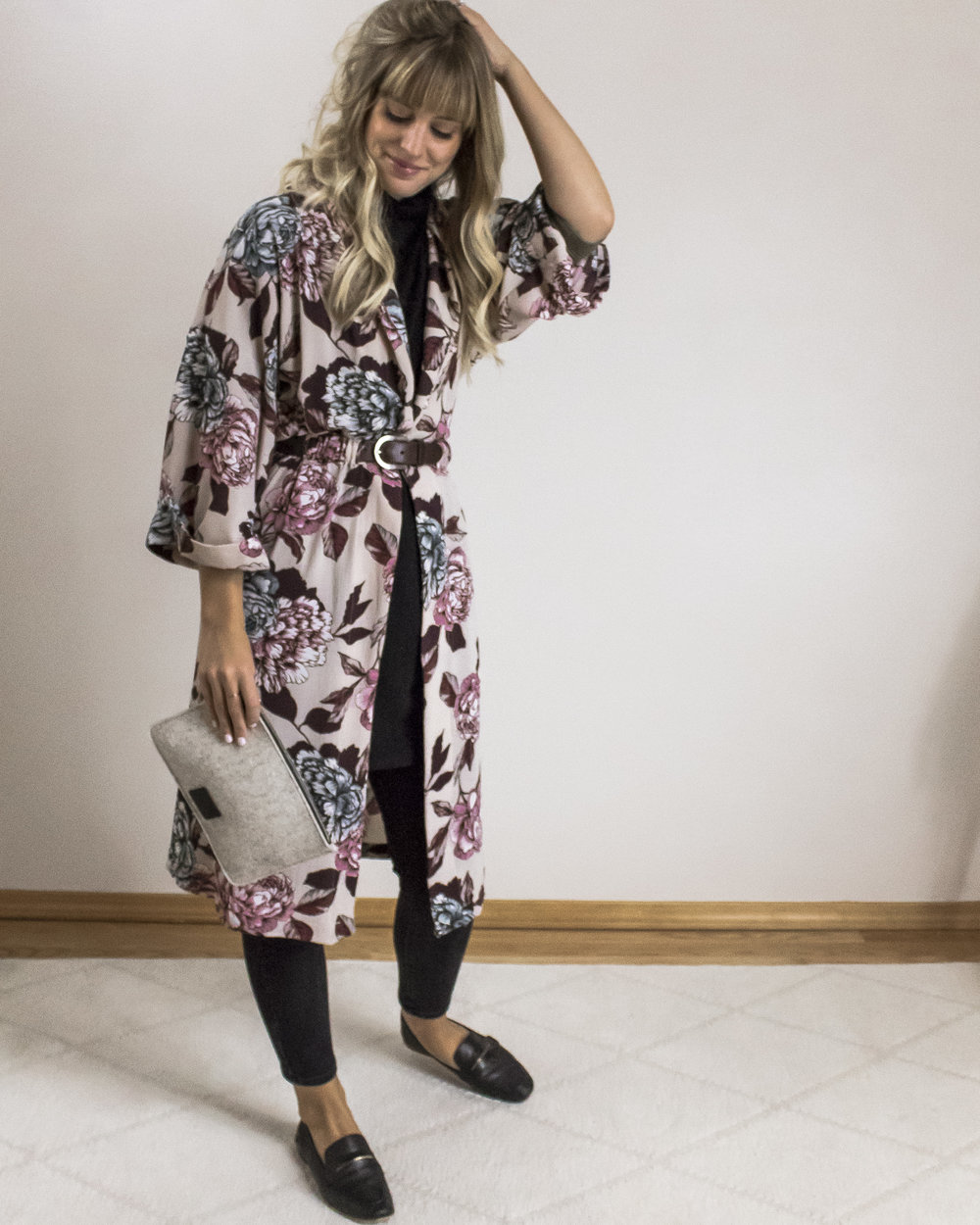 1. office chic - for a chic office vibe, layer it over a pair of black jeans or trousers. top the look with a flowy printed piece (like our FLORAL KIMONO) and belt it at your true waist for a defined shape. shoe and bag options are endless here, so we kept it simple with a classic loafer style and our sleek FELT FLAT POUCH by graf lantz.