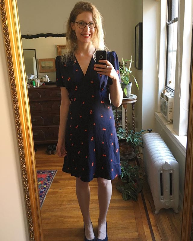 #mmmay18 day 30: yes, I know I skipped a couple days, no regrets! I've been yearning for a @rouje Gabin-esque wrap-dress since I first saw the style on the incomparably gorgeous @jeannedamas , but the Rouje dresses are 100% polyester, and #fabricsnobbery struck me again. Then I found this beautiful navy cherry print rayon #fruitdotsfabric from @cottonandsteel and knew I had to sew my own version. Mine's self drafted, and a bit shorter than the Rouje one. I made a few adjustments to this pattern, so will be making a second iteration in due time. I love love love it, but worry in hindsight that the fabric might be a bit light for the design. I'm contemplating a @blackbirdfabrics crinkle double gauze for the second go around (rubs hands together, scheming).