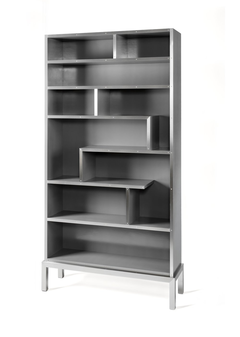 Bookshelf - gray with brushed stainless fascia.jpg