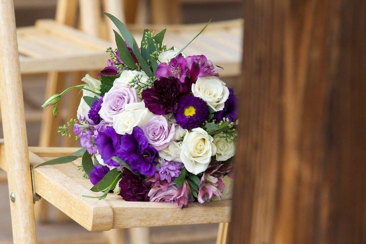 Rj jessica vann campbell flowers she wanted rich violets lovely lavenders and pretty purples i used bachelor buttons ocean song roses and deep purple lisianthus mightylinksfo